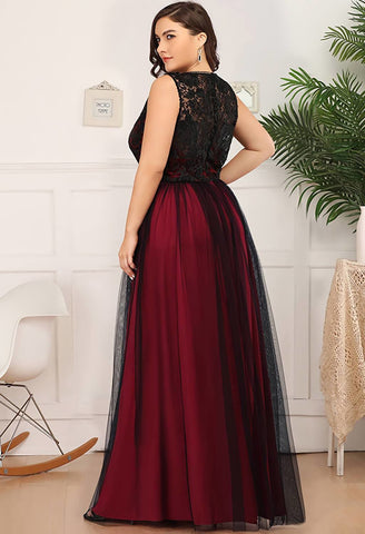Image of Plus Size Prom Dresses A-Line Maxi Long with Mesh - 7
