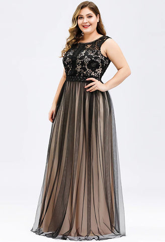 Image of Plus Size Prom Dresses A-Line Maxi Long with Mesh - 3