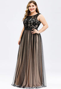 Plus Size Prom Dresses A-Line Maxi Long with Mesh - 3