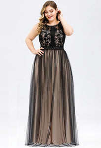 Plus Size Prom Dresses A-Line Maxi Long with Mesh - 4