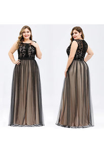 Plus Size Prom Dresses A-Line Maxi Long with Mesh - 5