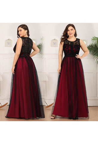 Image of Plus Size Prom Dresses A-Line Maxi Long with Mesh - 10