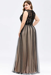 Plus Size Prom Dresses A-Line Maxi Long with Mesh - 2