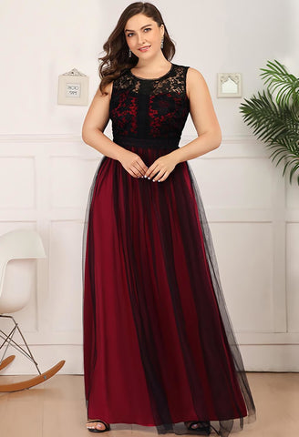 Image of Plus Size Prom Dresses A-Line Maxi Long with Mesh - 9