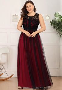 Plus Size Prom Dresses A-Line Maxi Long with Mesh - 9