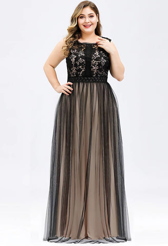 Image of Plus Size Prom Dresses A-Line Maxi Long with Mesh - 1