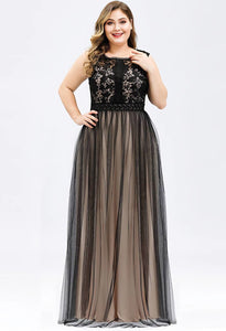Plus Size Prom Dresses A-Line Maxi Long with Mesh - 1