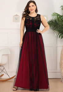 Plus Size Prom Dresses A-Line Maxi Long with Mesh - 6