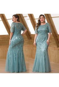 Plus Size Prom Dresses Delicate Embroidery Sequin Mermaid - 5