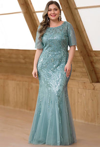 Plus Size Prom Dresses Delicate Embroidery Sequin Mermaid - 1
