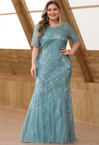 Plus Size Prom Dresses Delicate Embroidery Sequin Mermaid - 4