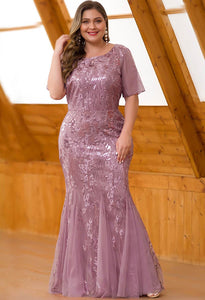 Plus Size Prom Dresses Delicate Embroidery Sequin Mermaid - 9