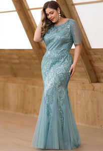 Plus Size Prom Dresses Delicate Embroidery Sequin Mermaid - 3