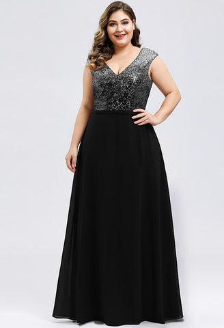 Image of Plus Size Prom Dresses V Neck Sleeveless Floor Length Sequin - 3