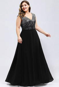 Plus Size Prom Dresses V Neck Sleeveless Floor Length Sequin - 1
