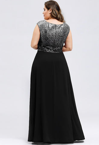 Image of Plus Size Prom Dresses V Neck Sleeveless Floor Length Sequin - 2