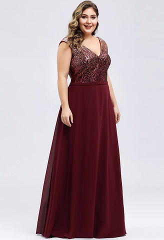 Image of Plus Size Prom Dresses V Neck Sleeveless Floor Length Sequin - 9