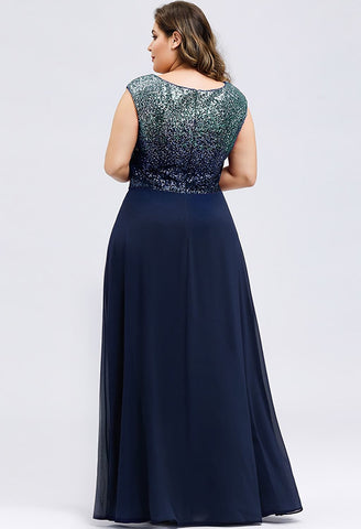 Image of Plus Size Prom Dresses V Neck Sleeveless Floor Length Sequin - 12
