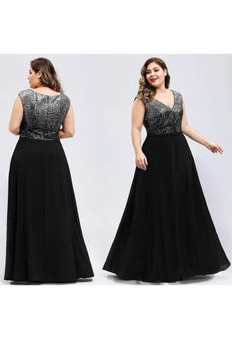 Image of Plus Size Prom Dresses V Neck Sleeveless Floor Length Sequin - 5