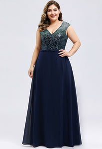 Plus Size Prom Dresses V Neck Sleeveless Floor Length Sequin - 14