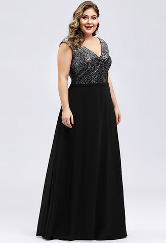 Plus Size Prom Dresses V Neck Sleeveless Floor Length Sequin - 4