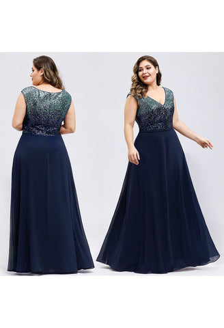 Image of Plus Size Prom Dresses V Neck Sleeveless Floor Length Sequin - 15