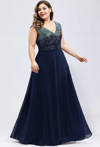 Image of Plus Size Prom Dresses V Neck Sleeveless Floor Length Sequin - 13
