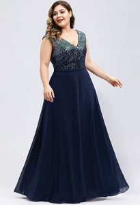 Plus Size Prom Dresses V Neck Sleeveless Floor Length Sequin - 13
