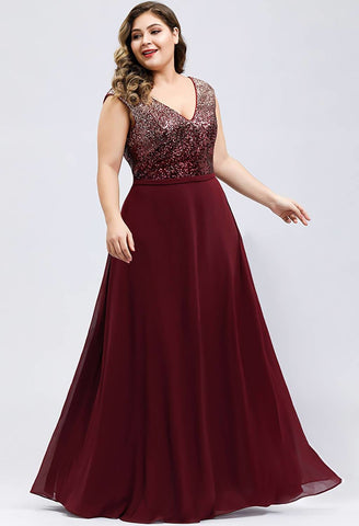 Image of Plus Size Prom Dresses V Neck Sleeveless Floor Length Sequin - 8