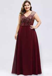 Plus Size Prom Dresses V Neck Sleeveless Floor Length Sequin - 6