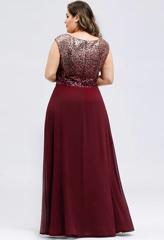 Image of Plus Size Prom Dresses V Neck Sleeveless Floor Length Sequin - 7