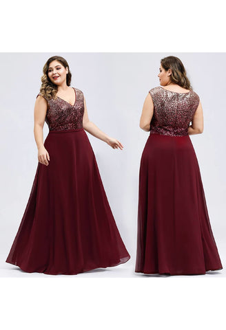 Image of Plus Size Prom Dresses V Neck Sleeveless Floor Length Sequin - 10