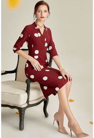 Image of Polka dot Pencil Dresses Sleeveless V-Neck - 4