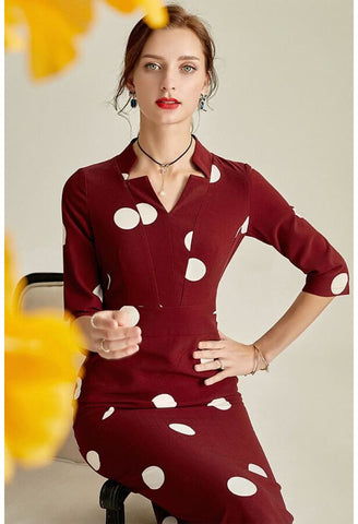 Image of Polka dot Pencil Dresses Sleeveless V-Neck - 3