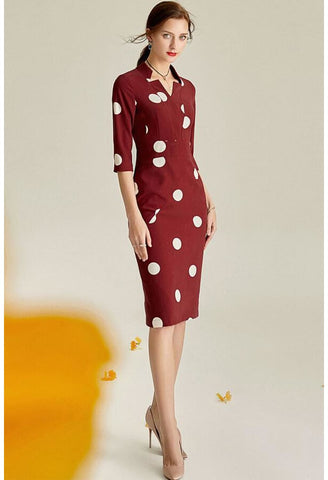 Image of Polka dot Pencil Dresses Sleeveless V-Neck - 1