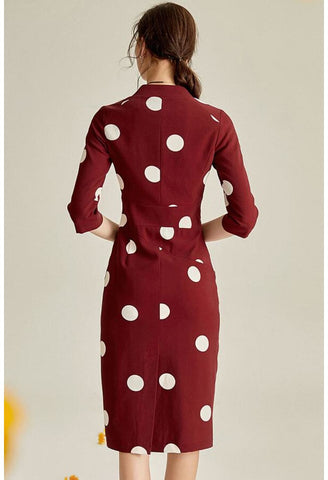 Image of Polka dot Pencil Dresses Sleeveless V-Neck - 5