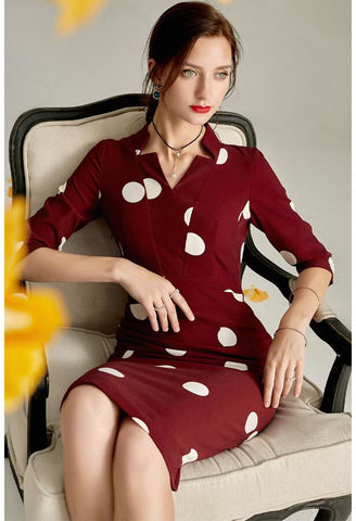 Image of Polka dot Pencil Dresses Sleeveless V-Neck - 2
