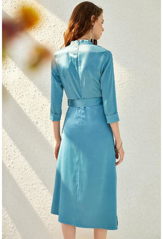 Image of Satin Midi Dresses Chic Hemline - 3