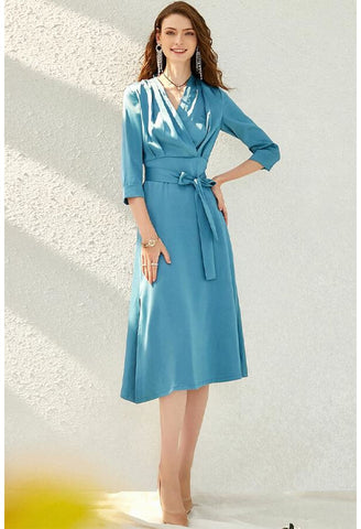 Image of Satin Midi Dresses Chic Hemline - 1