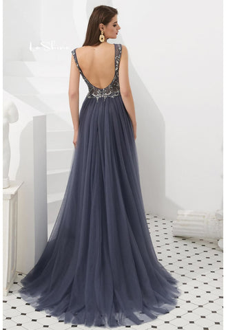 Image of Sheath Evening Dresses Brilliant Rhinestones and Beaded with Tulle Hemline - 2