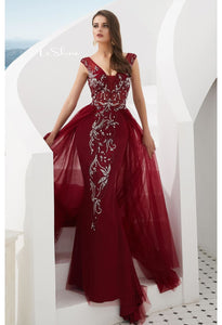 Sheath Evening Dresses Brilliant Rhinestones and Beaded with Tulle Hemline - 8