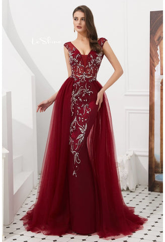 Image of Sheath Evening Dresses Brilliant Rhinestones and Beaded with Tulle Hemline - 6