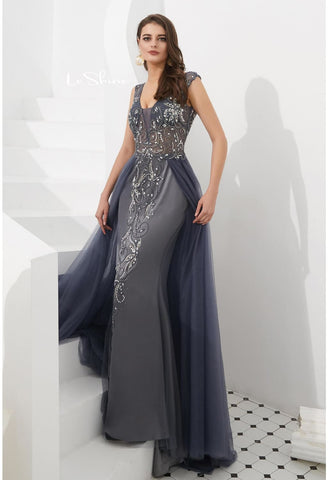 Image of Sheath Evening Dresses Brilliant Rhinestones and Beaded with Tulle Hemline - 3