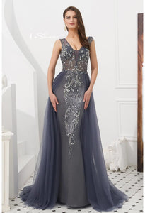 Sheath Evening Dresses Brilliant Rhinestones and Beaded with Tulle Hemline - 1