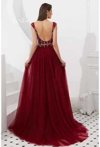Image of Sheath Evening Dresses Brilliant Rhinestones and Beaded with Tulle Hemline - 7