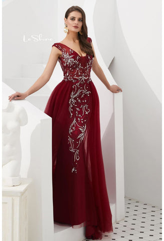 Image of Sheath Evening Dresses Brilliant Rhinestones and Beaded with Tulle Hemline - 10