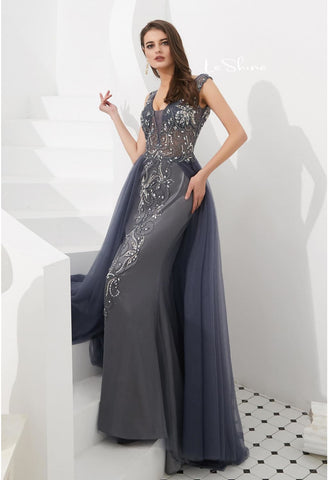 Image of Sheath Evening Dresses Brilliant Rhinestones and Beaded with Tulle Hemline - 5