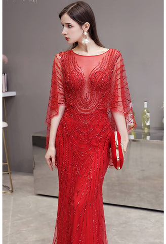 Image of Sheath Formal Dresses Luxury Starlit Rhinestones Sequins Embellished with Trumpet Sleeves - 4