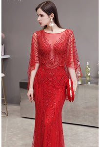 Sheath Formal Dresses Luxury Starlit Rhinestones Sequins Embellished with Trumpet Sleeves - 4