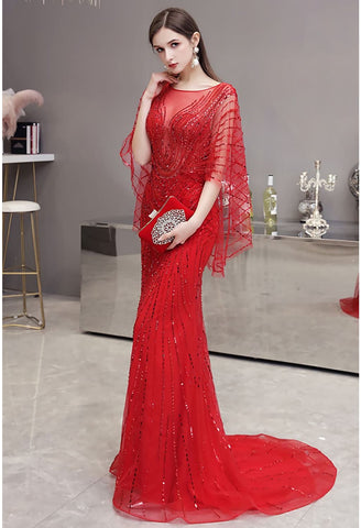 Image of Sheath Formal Dresses Luxury Starlit Rhinestones Sequins Embellished with Trumpet Sleeves - 2